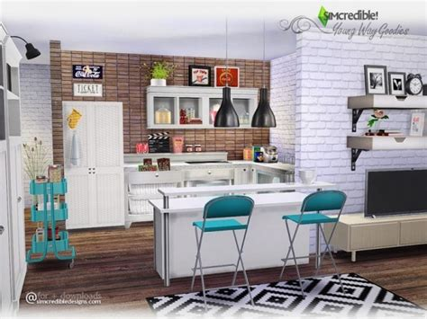 Sims 4 Home Interior Design :  Young Way Goodies By Simcredible • Sims