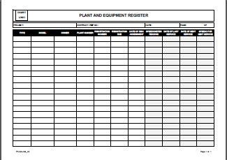 Excel Project Template Register Plant And Equipment Allsafety Management Services