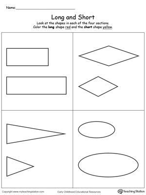 long  short shapes  images preschool counting