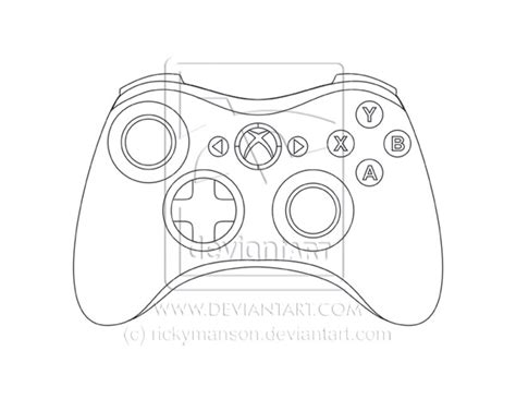Xbox Controller Drawing Outline
