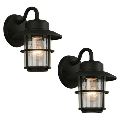 hton bay 1 light black outdoor wall lantern 2
