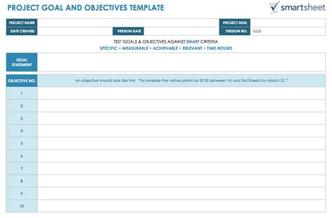 goals and objectives template how to write s m a r t project objectives smartsheet