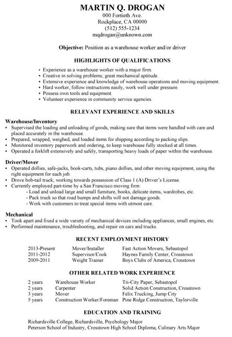 Warehouse Worker Resume by Exle Of A Functional Resume For A Warehouse Worker Or