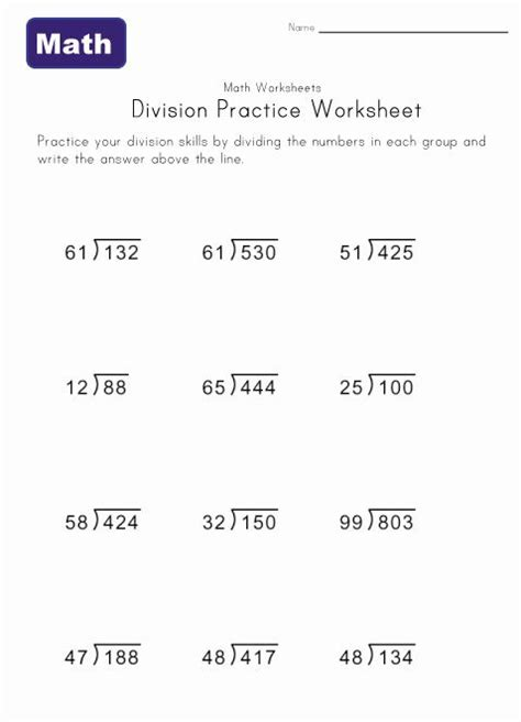 division practice worksheets  images division