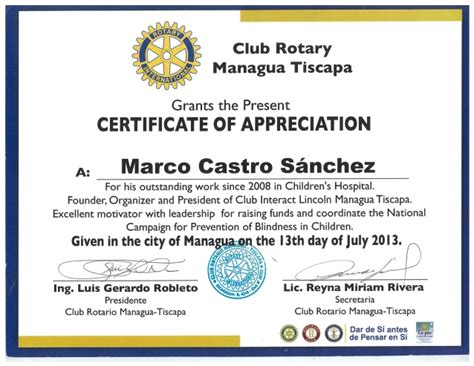Rotary Certificate Of Appreciation Template by Certificate Of Appreciation Rotary Gallery Certificate