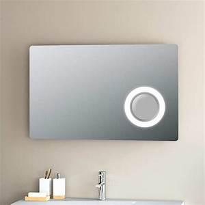 miroir lumineux led salle de bain 80 a 95x60 cm With miroir salle de bain 80