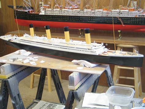 1200 Scale Custom Built Waterline Model Of Rms Titanic Under Construction In The Shop With A