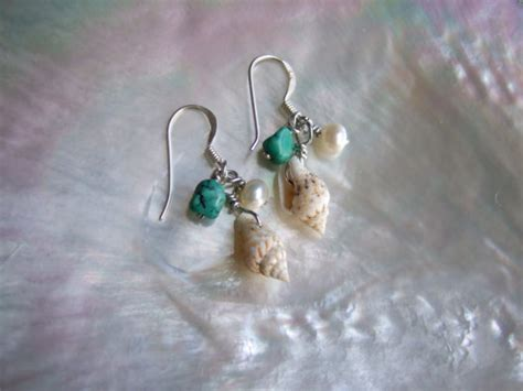 kuddyco jewellery turquoise pearl and shell earrings