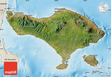 satellite map  bali shaded relief