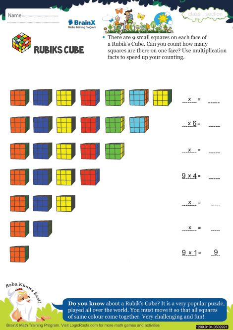 rubiks cube math worksheet  grade   printable