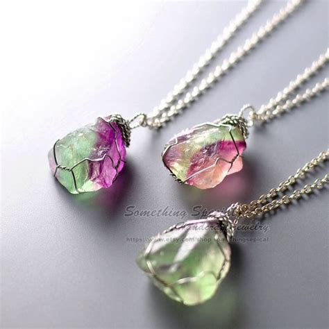 rainbow fluorite necklace raw crystal necklace green