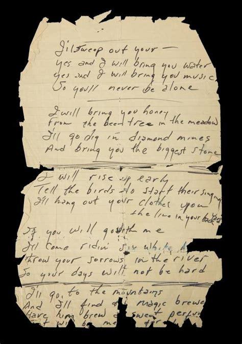 JOHNNY CASH HANDWRITTEN SONG LYRICS