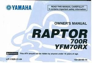 2008 Yamaha Yfm700 Raptor Atv Owners Manual