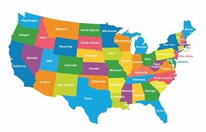 Map Usa Political States Maps Colored Regions