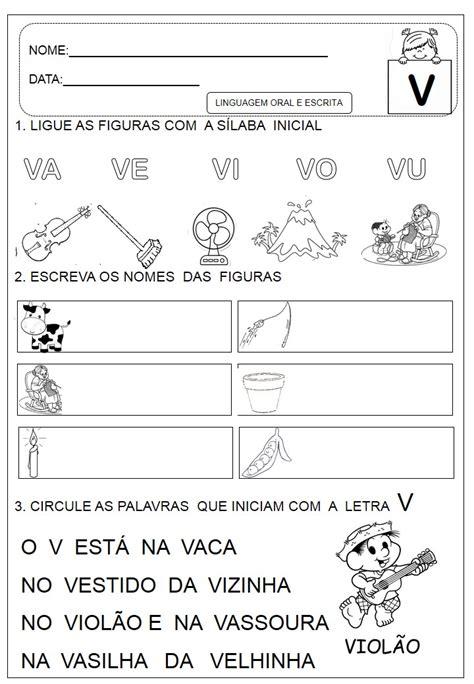educar atividades letra v