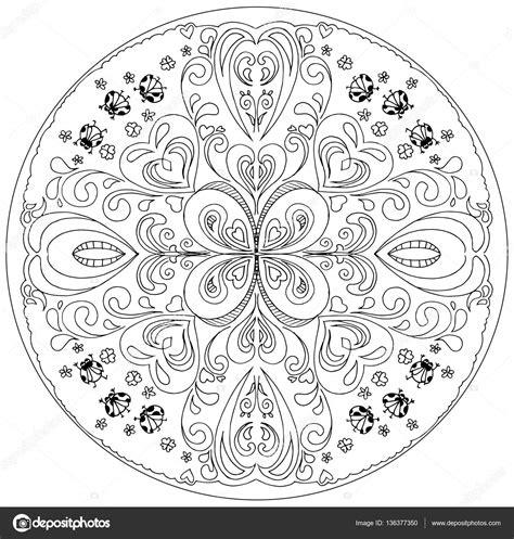 coloriage mandala avec vecteur de coccinelles image