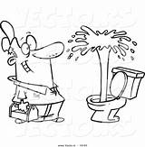 Plumber Cartoon Toilet Coloring Drawing Geyser Clipart Vector Admiring Outlined Leishman Ron Promotion Corporate Marketing Tools Royalty sketch template
