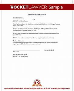 affidavit of lost document sample template With my documents missing
