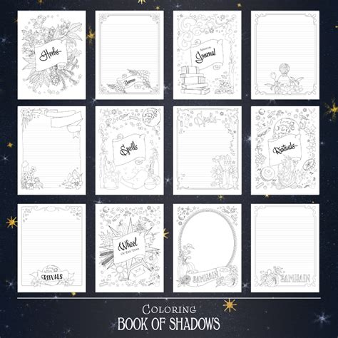 printable book  shadows pages coloring book  shadows