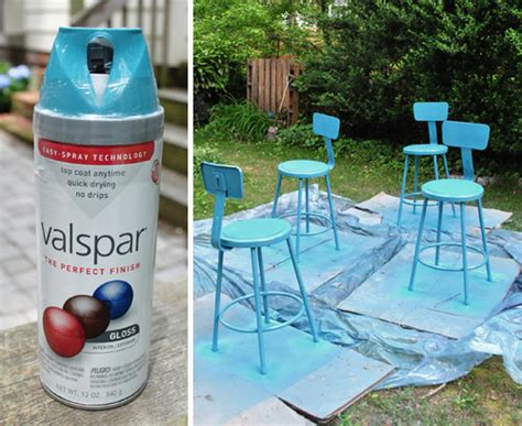 spray painting metal kitchen stools a happy turquoise