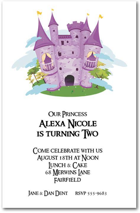 purple princess castle birthday invitations princess
