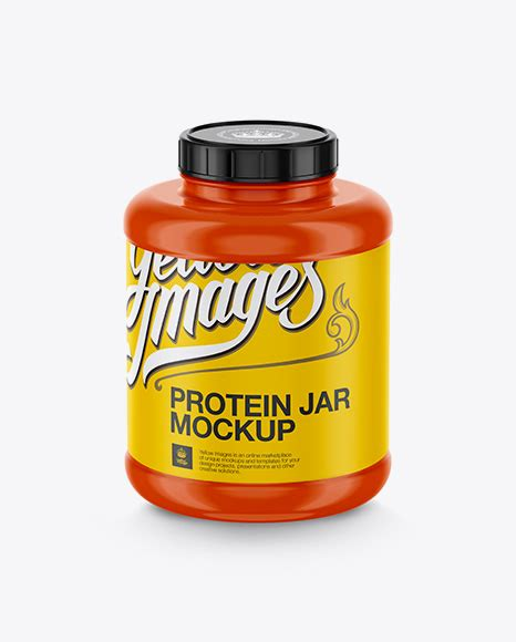 Plastic orange jar mockup with capsules to showcase your medicine packaging in a photorealistic style. Glossy Protein Jar Mockup - Matte Protein Jar Mockup ...