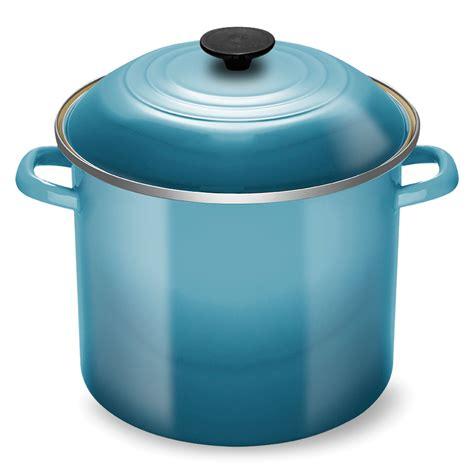 le creuset enameled steel stock pot  quart caribbean cutlery
