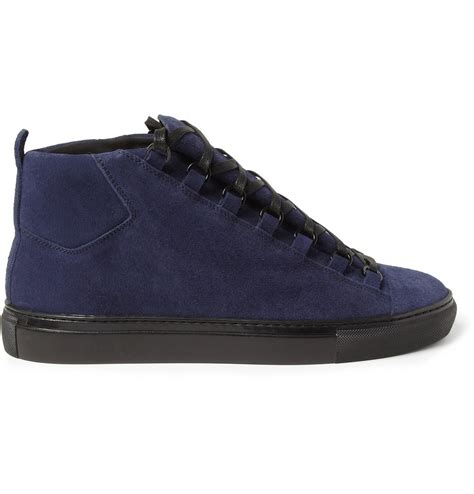 Lyst - Balenciaga Arena Suede High Top Sneakers in Blue