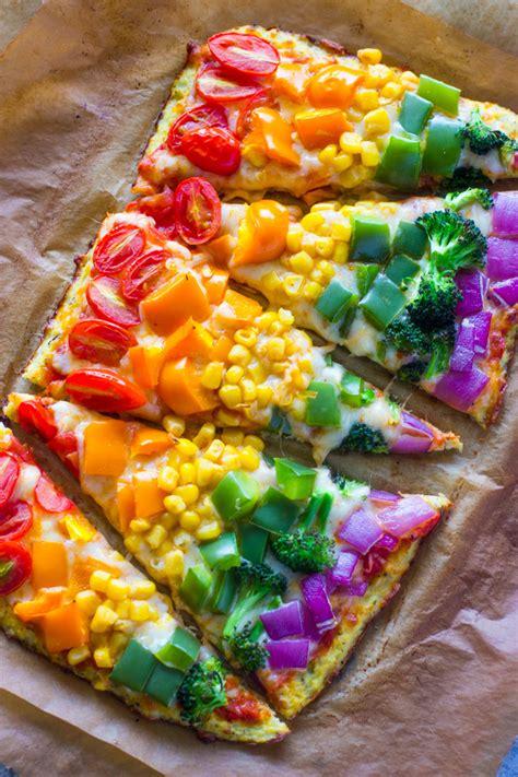kitchen food rainbow cauliflower crust pizza