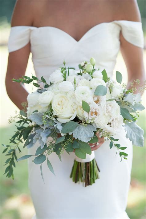 White Ranunculus And Eucalyptus Bouquet Dragonfly Events