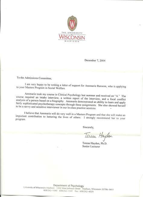 graduate school recommendation letter professionalism