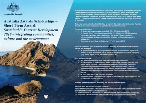 applications open  sustainable tourism development