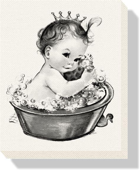 vintage baby in bath wearing crown birth info canvas baby n toddler