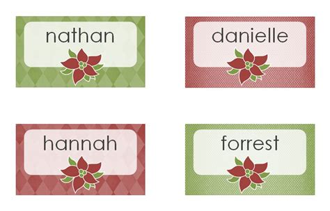 Place Card Templates Freechristmas Template Dinner Place Cards