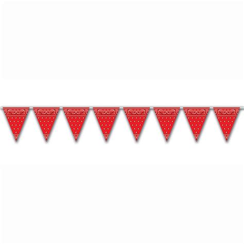 country western red bandana pennants flags theme party
