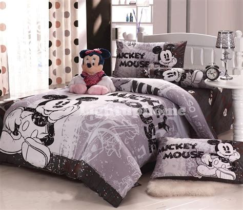 Mickey Mouse Bedding Set by Grey Mickey Mouse Bedding Fitted Sheet And Comforter Cover