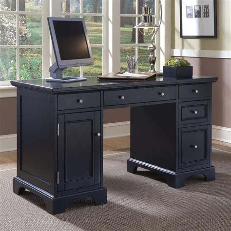 desk with drawers on left shop home styles bedford black computer desk at lowes com
