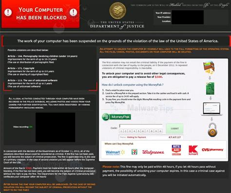 remove doj  computer   blocked virus