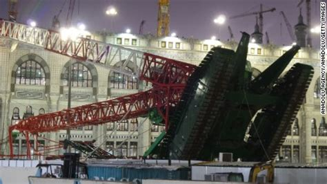 video shows moment crane collapses  mecca cnn video