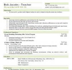 templates of resumes for teachers free sle elementary resume template