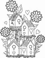 Birdhouse Garden Coloring Pages Fairy Bird Drawing Houses Adult Birds Adults Colouring Sheets Detailed Gardens Drawings Cartoon Fantasy Da Books sketch template