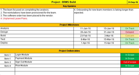 page project status report template  weekly status