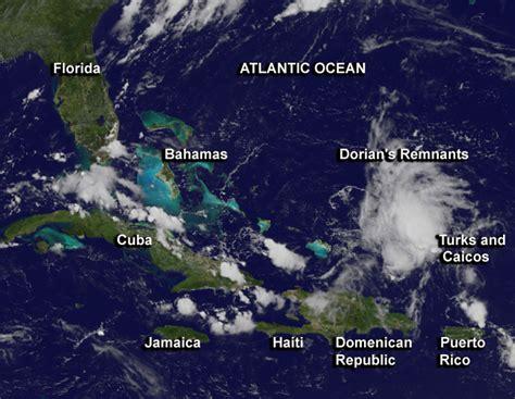 satellite shows  tropical storm dorians remnants elongated