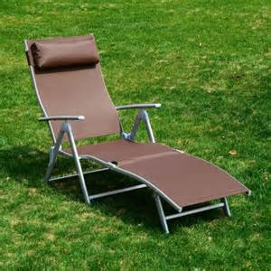 outsunny patio reclining chaise lounge chair with cushion