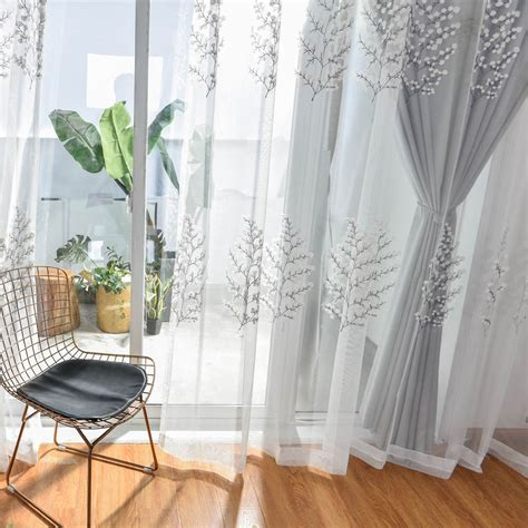 grey white curtains  living room embroidered luxurious