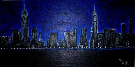 hans wolf artwork manhattan skyline  night original