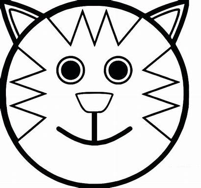 Face Coloring Pages Cartoon Sad Smiley Cat