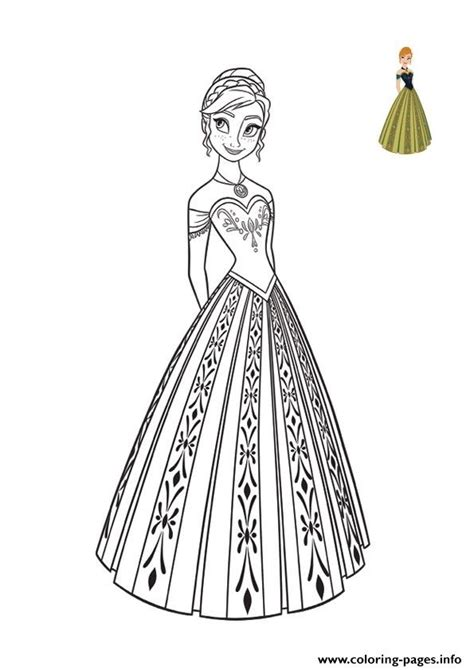 princess anna dress top model frozen  coloring pages printable