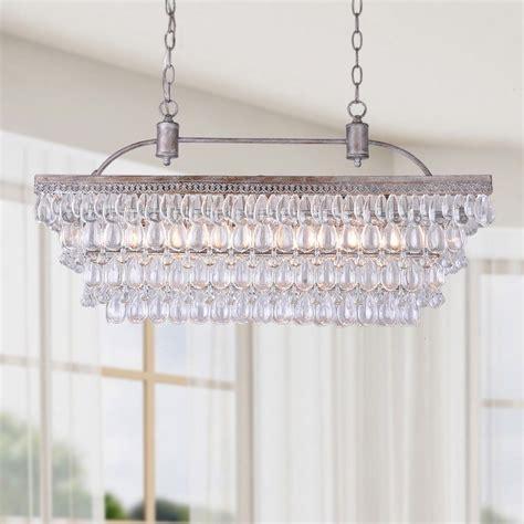 Unique Kitchen Chandeliers by Antique Silver 6 Light Rectangular Glass Droplets
