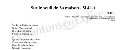 chantons en eglise sur le seuil de sa maison sl41 1 sl41 1 aelf association 201 piscopale